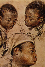 501061 Three Negro Boys Jean Antoine Watteau A4 Photo Print