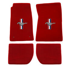 1965-1973 Ford Mustang Coupe Fastback Lloyd Floor Mats Red W/Pony & Tri-Bars