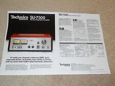 Technics SU-7300 Amplifier Brochure, 2 page, 1978, Specs, Info, Beautiful!