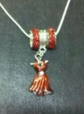 """NEW Red Fashion Hat Lady with Rhinestone .925 18"""" Necklace for Society Lady"""