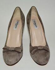 LK BENNETT gray suede pumps bow detail almond toe high heel sz 38.5