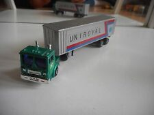 "Shinsei Mini Power Truck + Trailer ""Uniroyal"" in Green/Grey on 1:128"