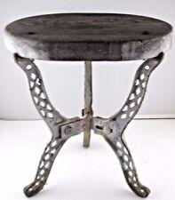 Stool Wood Metal 3 Leg Primitive Silver Sturdy Yard Art Farm Milking OOAK VTG