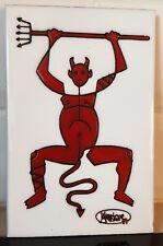 Cesar Manrique Diablo Ceramic Art Tile 1987 Red Devil Symbol of Lanzarote Spain