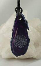 Colgante Disco de Ágata Púrpura TEñIDO CON FLOR DE LA VIDA perforadas con LB A10