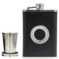 8OZ StainlessSteel Hip Flask With Collapsible SHOT GLASS Wraped with Leather