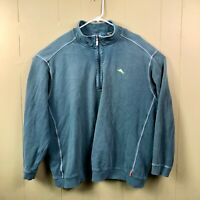 Tommy Bahama Men's 3XB 1/4 Zip Teal Embroidered Long Sleeve Pullover Sweater