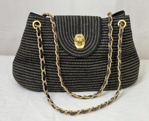 Eric Javits Navy Blue Gold Metallic Weave Shoulder Baguette Handbag Squishee
