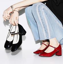 Ladies Lolita Patent Leather Retro Mary Jane Square Toe Shoes Med Block Heels sz