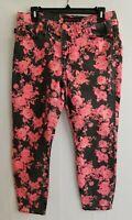 Rock Republic Womens Hamburg Jeans Denim Floral Skinny Leg Coral Gray Zip Sz 10