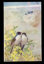 Birds Swallows Cheer Songsters Tuck Oilette #3347 vintage PPC A L West drawn