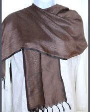 Banaras Silk Bronze Brown Woven Floral Paisley Design Shawl, Wrap, Stole