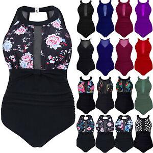 Plus Size Women Mesh Swimming Costume Monokinis One Piece Swimsuit Swimwear New