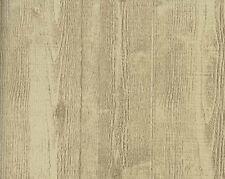 Embossed Textured Beige and Brown Wood Planks Heavy Duty Wallpaper HE1000