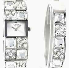 Henley Ladies Real Crystal Silver Tone Watch OR Watch & Bangle Xmas Gift Set