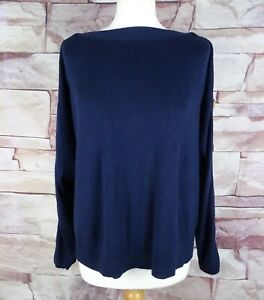 WHISTLES navy blue knit jumper button detail with silk and wool small