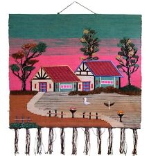 Handmade Knotted Textile Pictorial Wall Hanging Kilim Rug - 41ʺ × 35ʺ