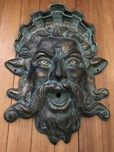 King NEPTUNE Or POSEIDON Cast Iron Metal Wall Plaque Or Spitter / Water Spout
