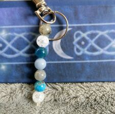 Guardian angel key chain bag charm crystal healing angelite apatite labradorite