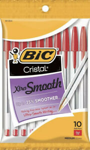 NEW BIC Cristal Xtra Smooth Ball Pen 10 Count - Medium Point (1.0 mm) - Red