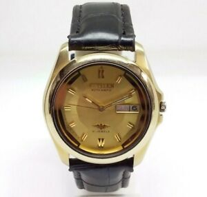 USED VINTAGE MEN'S CITIZEN AUTOMATIC 21 JEWELS DAY & DATE WORKING WRIST WATCH