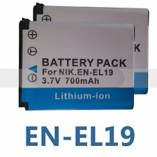2(pack) EN-EL19 new Battery  700mAh For Nikon Coolpix S2500 S3100 S4100 Camera