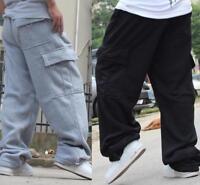 Men's Casual Loose Cargo Baggy Hip Hop Long Pants Trousers Athletic Sweatpants #