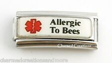 Allergic To Bees Caduceus Stings Medical Alert 9mm Italian Charm Superlink