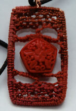 Hand made Needle lace necklace pendant reddish brown cinnabar bead  copper J