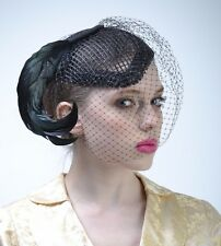 VTG 40s Black FEATHER Birdcage FASCINATOR Wedding Gatsby Church HAT Races Derby