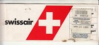 1989 SWISSAIR AIRLINES PASSENGER TICKET AND BAGGAGE CHECK