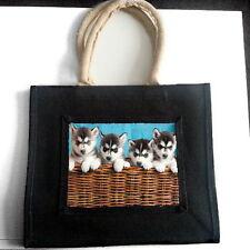 Husky Siberiano Cachorros Yute Bolso De Compras Mascota Perro Amante raza Foto Regalo