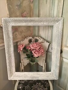 Antique Shabby White Wood Ornate Victorian Style Picture Frame Large