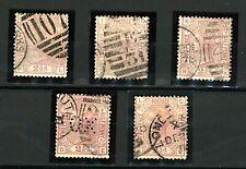 GB QV 1873/80 2½d mauve plates 7, 8, 9, 10 and 11 sg141 cv£400 (5v) FU Stamps