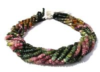 """5-10 Strand Natural Multi Tourmaline Rondelle Faceted 3.5-4mm Gemstone Beads 12"""""""