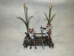 Vienna Bronze, two Foxes fishing on a Dock, Franz Bergmann