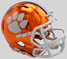 CLEMSON TIGERS NCAA Riddell SPEED Authentic MINI Football Helmet CHROME