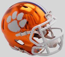 CLEMSON TIGERS NCAA Riddell SPEED Authentic MINI Football Helmet CHROME