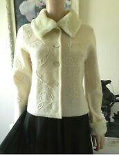 Cream Wool Jacket Detachable Fur Collar Cuffs Pastiche Mother Of Pearl Buttons