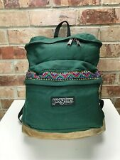 vtg Jansport Leather Bottom Backpack Forest Green Tribal Aztec USA