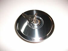 NEW POLISHED STAINLESS STEEL LOCKING PETROL CAP WITH 2 NEW KEYS SUITS EH HOLDEN