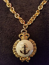 """ROUND ANCHOR CROWN OLIVE BRANCH PENDANT GOLD PLATED NAUTICAL 30"""" CHARM NECKLACE"""