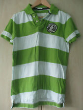 mens ABERCROMBIE & FITCH GREEN & WHITE STRIPED COTTON POLO SHIRT SIZE MEDIUM
