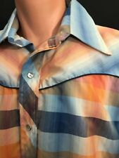 Vtg Monzini Collection By Monticello Plaid Western Cowboy Long Sleeve Shirt Sz L