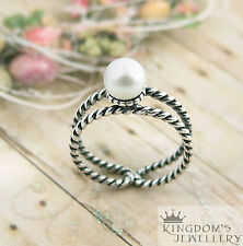 925 Sterling Silver Natural Fresh Water Pearl Open Cuff Ring Size7-11 Adjustable