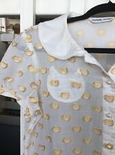 Anthropologie Tsumori Chisato Kitty Car Embellished Blouse Small Semi Sheer