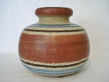 "Scheurich Art Pottery 284-75 Speckled Striped Vase Brown Rust Blue 6"" Germany"