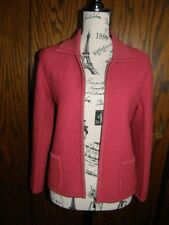 2969) Petite Sophisticate Petite Jacket Zip Up Wool Front Pockets Deep Coral Red