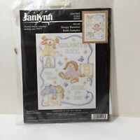 "Sleepy Bunnies Birth Sampler Cross Stitch Kit Janlynn 11"" x 14"""
