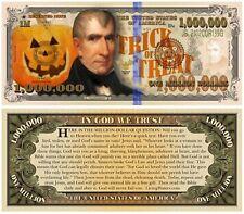 Lot of 25 Halloween Million Dollar Bill Funny Money Gospel Tract Novelty Notes